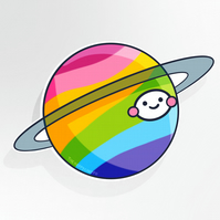 Planet Rainbow 10cm Vinyl Sticker