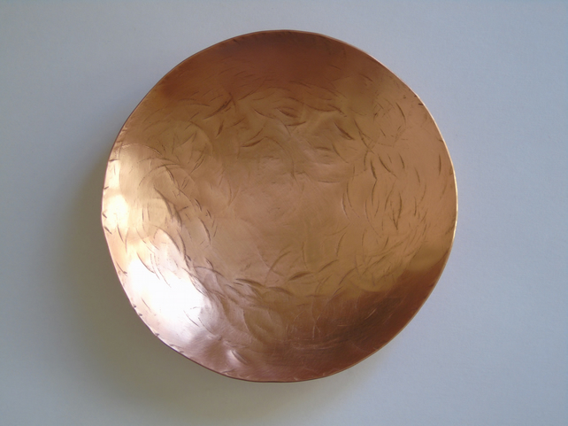 Handmade copper bowl with hammer marks