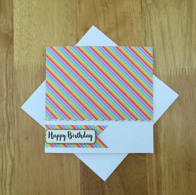 Rainbow Birthday Card - Happy Birthday Card - Multicoloured Card