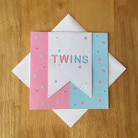 Twins Baby Card- New Baby Boy and Girl Card - New Babies Card