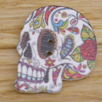 Left side profile white skull Day of the Dead decoration