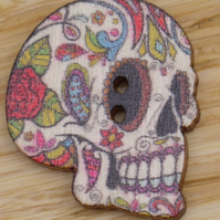 Right side profile Neutral skull Day of the Dead decoration