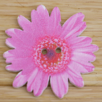 Large pink flower button embellishment