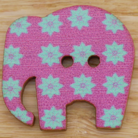 Purple elephant with jade star Button embellishment