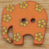 Orange elephant with yellow flowers Button embellishment