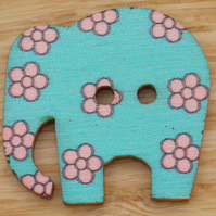 Turquoise elephant with pink flowers Button embellishment