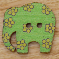 Green elephant with yellow flowers Button embellishment