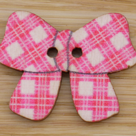 Pink Plaid Bow Button Embellishment