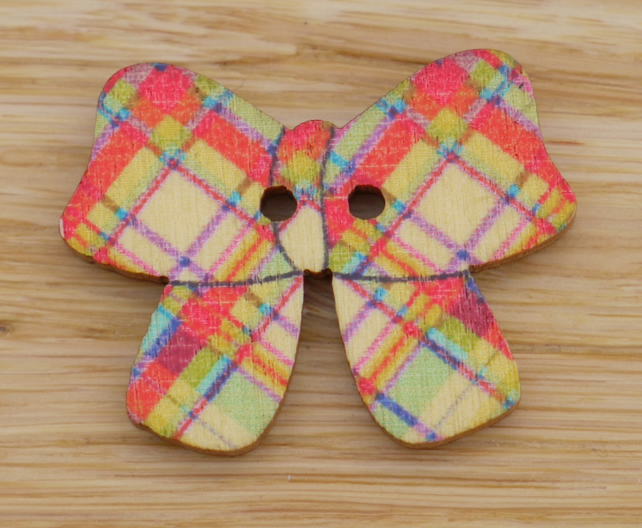 Plaid bow Button Embellishment