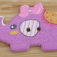 Purple Elephant with a bow in its hair Button Embellishment