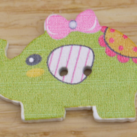 Green Elephant with a bow in its hair Button Embellishment
