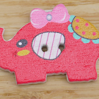 Cerise Elephant with a bow in its hair Button Embellishment