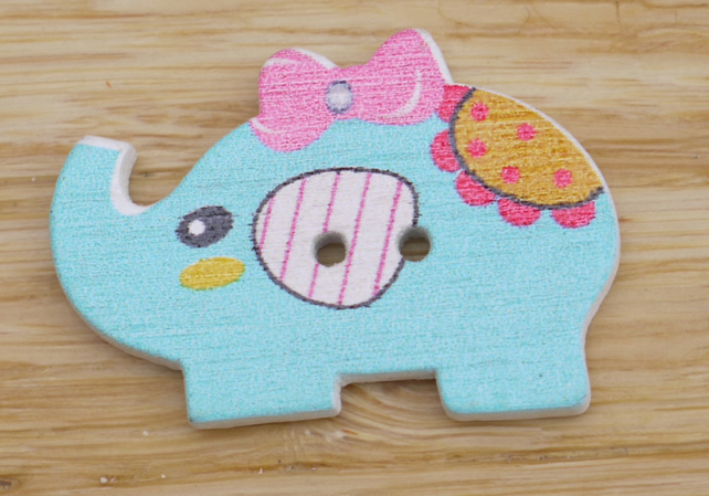 Turquoise Elephant with a bow in its hair Button Embellishment