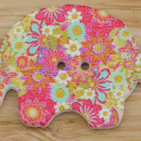 Bright flowery Alien elephant Button Embellishment