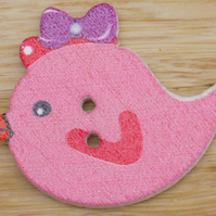 Dark Pink bird with bow  Button Embellishment