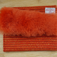 Orange Harris Tweed and Sheepskin Clutch Bag