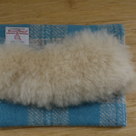 Blue and cream check Harris Tweed and Sheepskin Clutch Bag