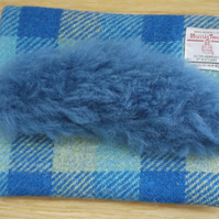 Blue check Harris Tweed and Sheepskin Clutch Bag