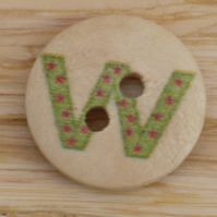 Letter W wooden buttons