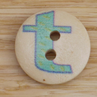 Letter T wooden buttons