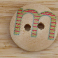 Letter M wooden buttons