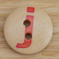 Letter J wooden buttons