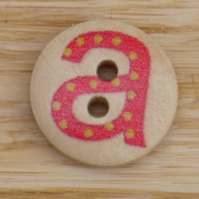 Letter A wooden buttons