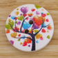 Heart leaves on a tree trunk wooden buttons