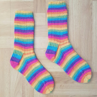 Hand Knitted Bright Striped Socks