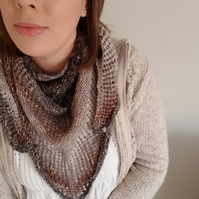 Hand Knitted Triangle Shawl