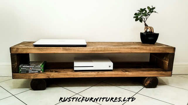 TV Stand TV Unit Chunky Handmade Rustic Furniture TV cabinet