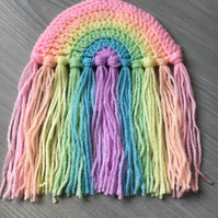 Small Pastel Crochet Rainbow Wall or Window Hanging NOW WITH FREE SUCTION HOOK
