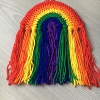 Small Crochet Rainbow Wall or Window Hanging NOW WITH FREE SUCTION HOOK