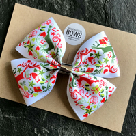 Hand Made Christmas Ribbon Hair  Bow