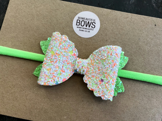 Green neon bow headband