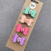 Set of four spring hair bows