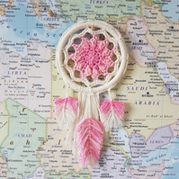 Crochet dream catcher and cotton feathers - PATTERN ONLY