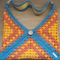 Crochet Shoulder Bag in Orange, Yellow and Blue