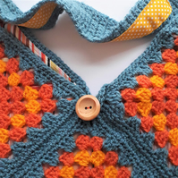 Crochet Shoulder Bag in Orange, Yellow and Blue - Large