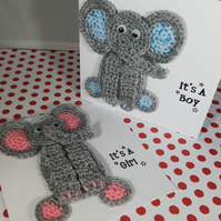 Handmade Crochet Elephant New Baby Card