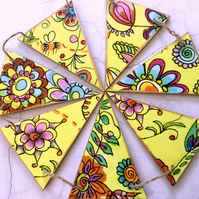 Handmade Vintage Style Wooden Bunting