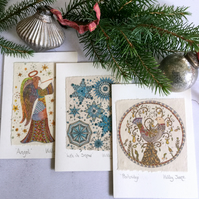 Handmade Christmas Cards - Recycled Xmas Card Pack - Luxury Christmas Cards