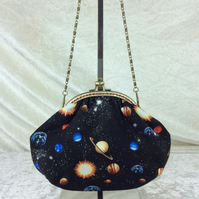 Planets and space small frame handbag purse clutch bag with detachable chain
