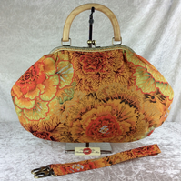 Cabbages large fabric frame handbag purse with detachable strap or chain