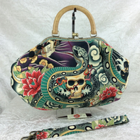 Gothic skulls large fabric frame handbag purse with detachable strap or chain