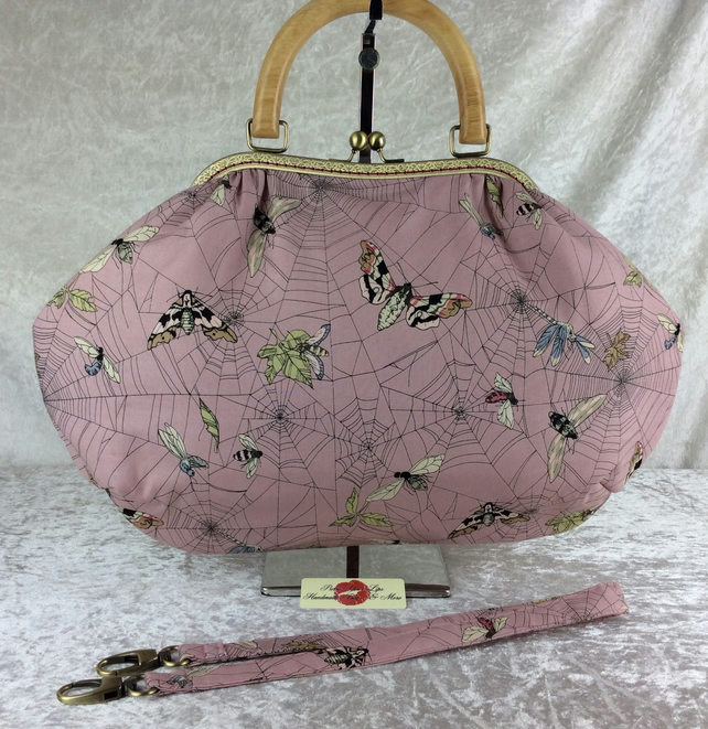 Gothic spiders web moths large fabric frame handbag purse with strap or chain