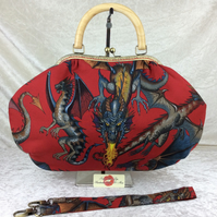 Dragons large fabric frame handbag purse with  strap or chain