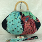 Kujaku Peacocks large fabric frame handbag purse with detachable strap or chain