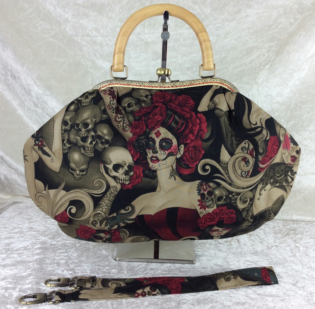 Mexican Day of the Dead large fabric frame handbag purse with strap or chain