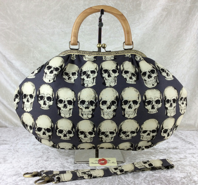 Gothic skulls large fabric frame handbag purse with strap or chain Rad Skulls